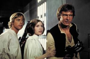 Luke Skywalker, Leia Organa, and Han Solo from the first Star Wars.