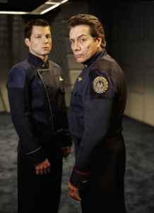 William and Lee Adama from Battlestar Galactica