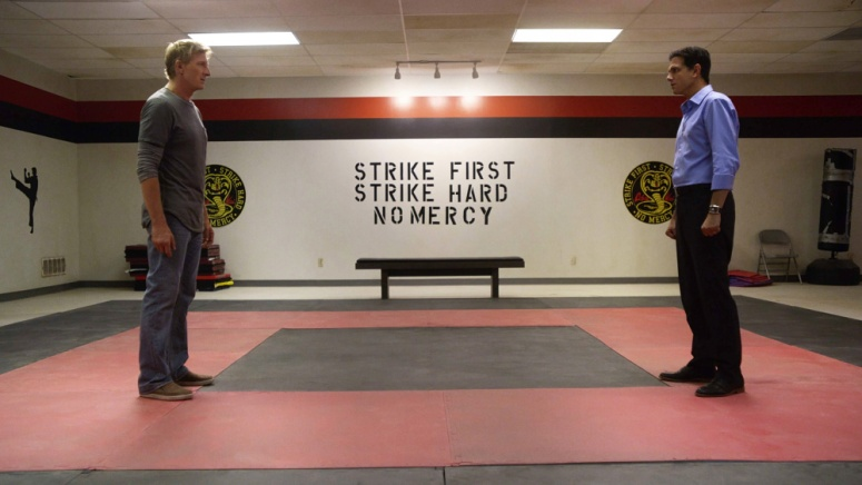 Daniel LaRusso and Johnny Lawrence in Cobra Kai dojo