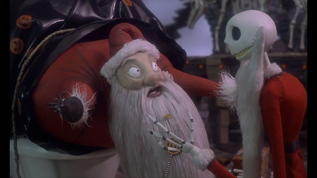Jack Skellington and Santa Claus in The Nightmare Before Christmas