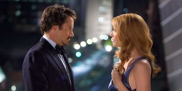 Tony Stark and Pepper Potts in Iron Man (2008).