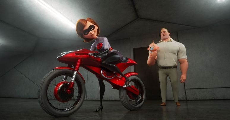 Elastigirl gets ready to ride her motorcycle.